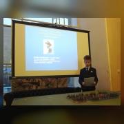 Орлов Владимир (юнармейский отряд «Неудержимые», рук. Евстигнеева С.А.) выступает с докладом «Как монитор «Железняков»  воевал по заветам Суворова»